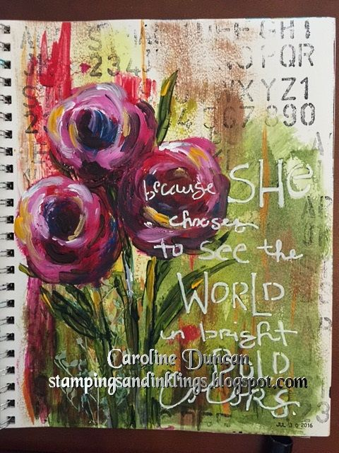 art journal by Caroline Duncan ~ Stampings and Inklings ~ abstract floral, #artjournaleveryday