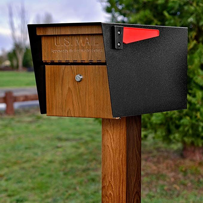 125 86 Black Post Amazon Com Mail Boss Curbside 7510 Mail Manager Locking Security Mailbox Wood Grain Black Pow Mail Boss Security Mailbox Mounted Mailbox
