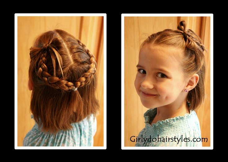 Bows and Braids: Short Hair, Hair 13, Braids For Kids Shorts Hair, Braids Ideas, Shorts Hair Dos, Girls Hairstyles, Hair Style, Hair Bows, Beautiful Kids Hairstyles