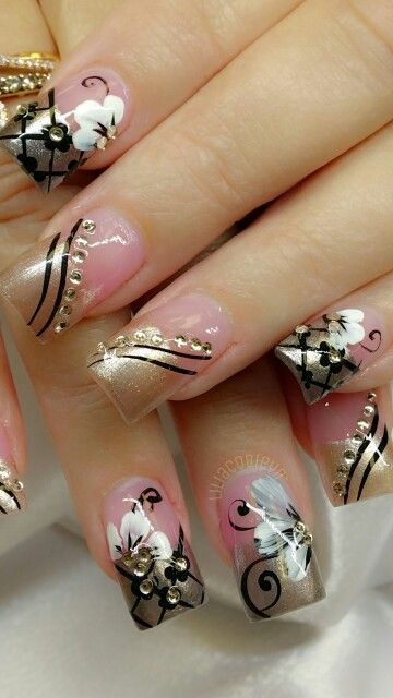 Nails   Sparkling champagne, dark decadent chocolate and topaz gems colors ~ middle two finger designs only.