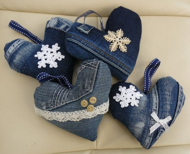 Recycled denim hanging heart                                                                                                                                                                                 More