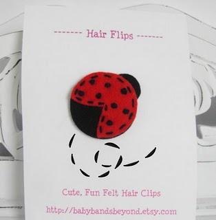 felt hair clip ladybug