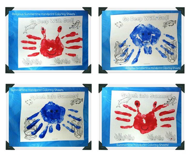 Handprint Sea Creature Coloring Sheets. 2 Versions (Religious and Non-Religious!)