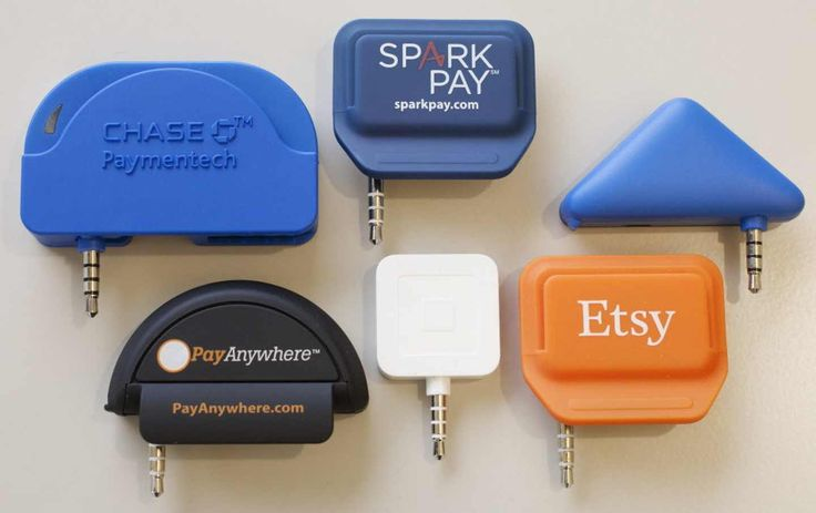 Mobile credit card readers can connect into a smartphone, or tablet, and let business owners accept credit card payments. In the top row, from left, are readers from Chase Bank, Spark Pay, and PayPal. Bottom row, from left, are readers from Pay Anywhere, Square, and Etsy.
