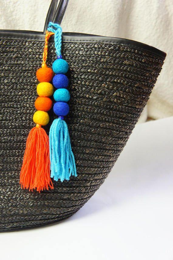 Bijou de sac Pom Pom, Pom Pom porte-clé, bijou de sac sac breloque, bijou de sac de plage, Pompon, balle de feutre breloque porte-clés, accessoires de sac de Pom Pom à pompon