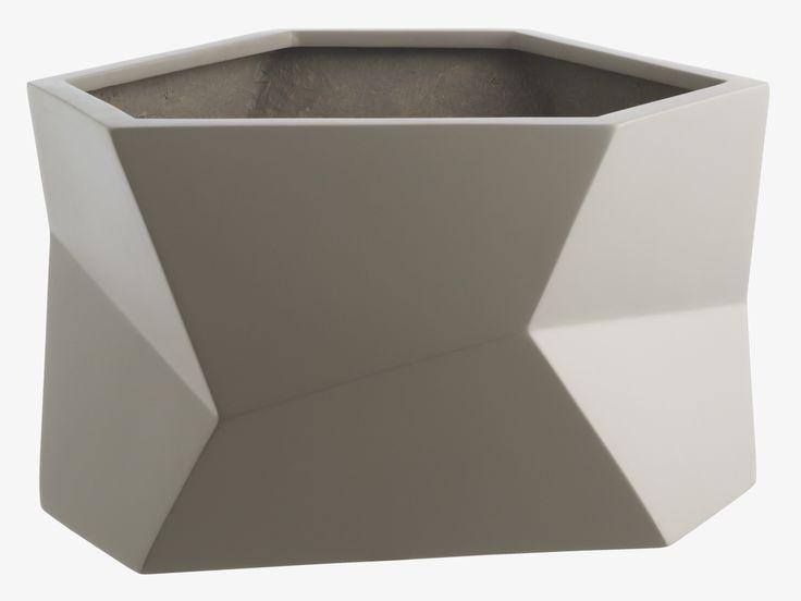 FACETED GREY Fibreglass Wide grey faceted fiberglass planter - HabitatUK