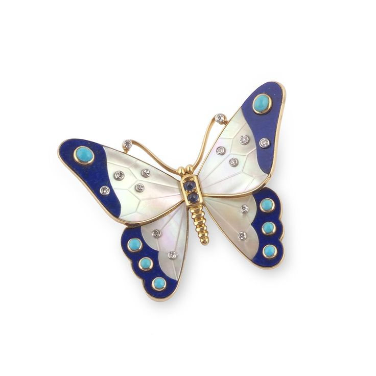 CARTIER | lapis lazuli, turquoise and mother-of-pearl brooch, 1965