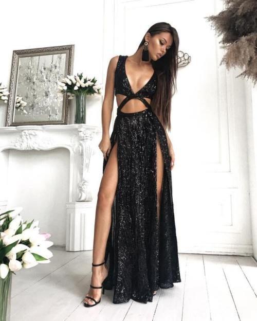 3c2dec5f7af Sexy Sequin Sparkly Simple Black Split Fashion Popular Prom Dresses ...