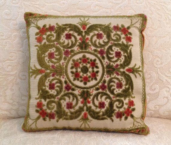 Cut velvet pillow down filled sofa throw toss square decorative zippered Victorian farmhouse romantic cottage chic home decor