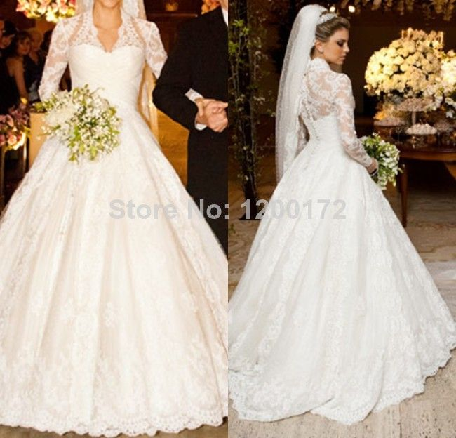 Real do vestido de casamento vestido de baile manga comprida vestido de noiva de 2014 Vestido de Noiva Lace Vestido de Noiva 318.00 - 348.00