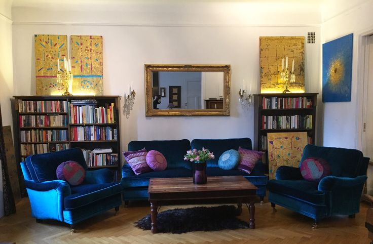 Soffgrupp Lejonet howardsoffa och fåtölj i blå sammet Howard, soffa, sammetstyg, inredning