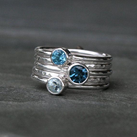 Deep Sea Stacking Rings, London Blue Topaz Swiss Blue Topaz Aquamarine, Sterling Silver, Set of Five, Stackable Rings, Stack, Gemstone Jewel via Etsy