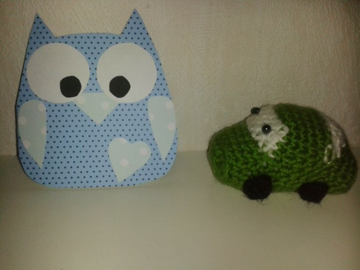 Pöllö-kortti ja virkattu auto owl card and crochet car