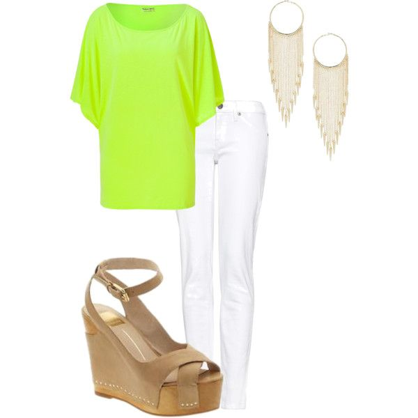 White jeans, tan shoes and gold earrings let this neon green top do all the talking!
