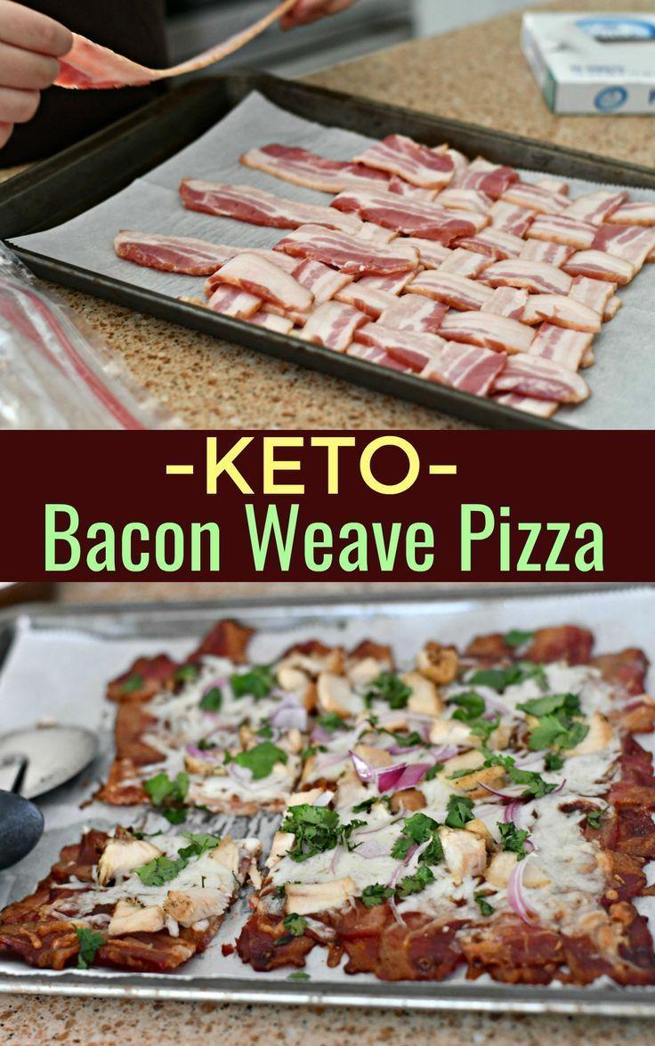 Keto BBQ Chicken Bacon Weave Pizza