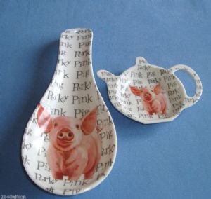Farm Yard Animals Teabag Tidy Spoon Pig