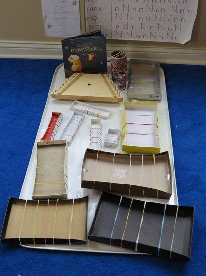 DIY musical strummies | Teach Preschool.  This goes well with the book, Noisy Night.