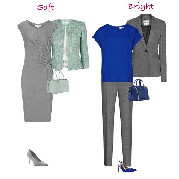 The Bright dominant needs contrast and can wear a Charcoal Grey with a bright Cobalt or an Icy colour. Alternatively with a Silver Grey choose Scarlet, Apple Green or Light Aqua.