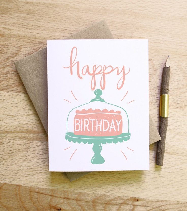 Happy Birthday Cake Illustrated Drawing Birthday Card