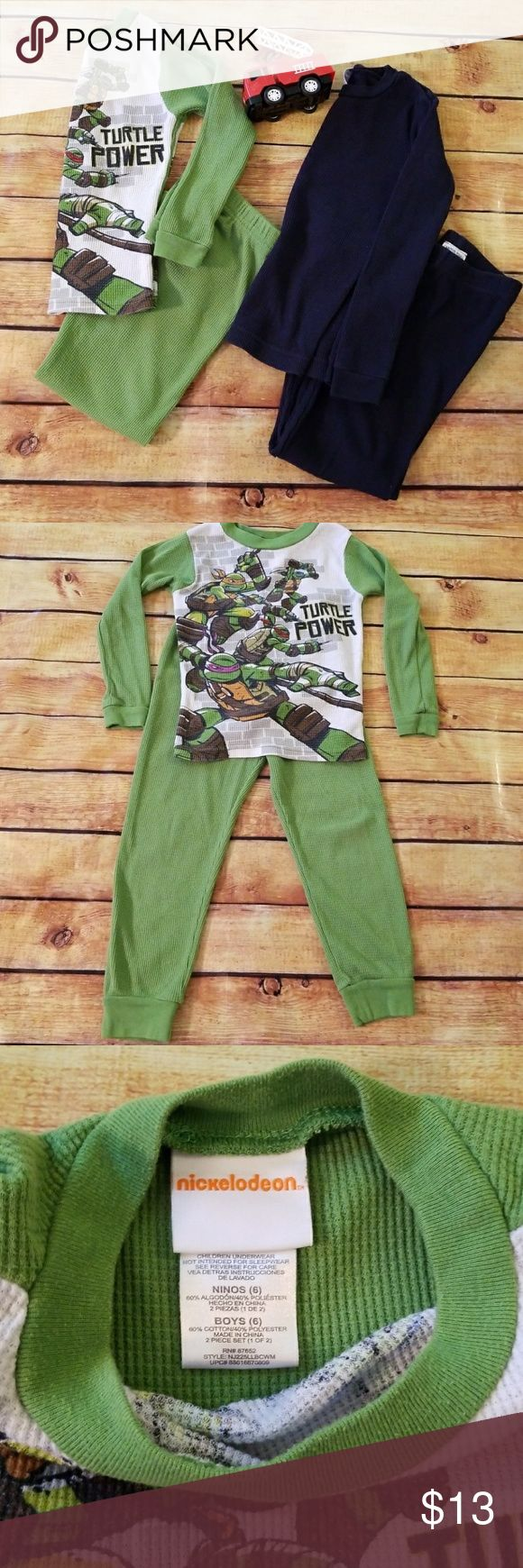 👦Boys Bundle of Thermal Pajamas, Size 6 TMNT Green Thermal pajamas(Nickelodeon) and Canyon River Blues navy blue thermal pajamas. Both size 6. Pre-loved❤ Nickelodeon Pajamas Pajama Sets