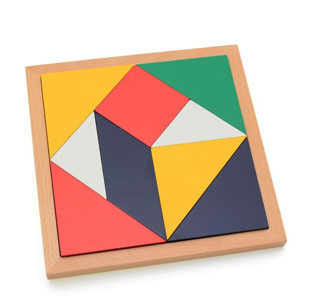 Baby Toys Geometric Shape Montessori Puzzle Educational Jigsaw Puzzle Wooden Toys Multicolour Tangram Early Learning Child Gift