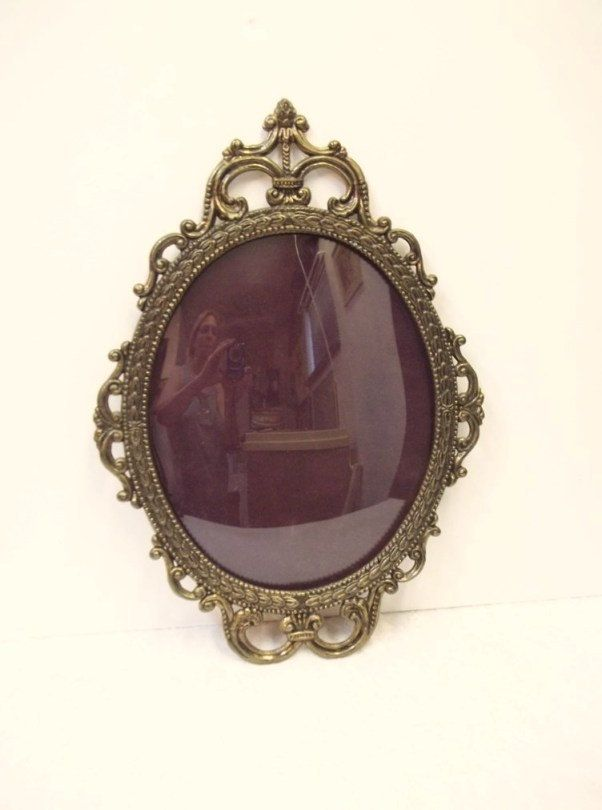 Large Oval Ornate Metal Picture Frame With Convex Curved