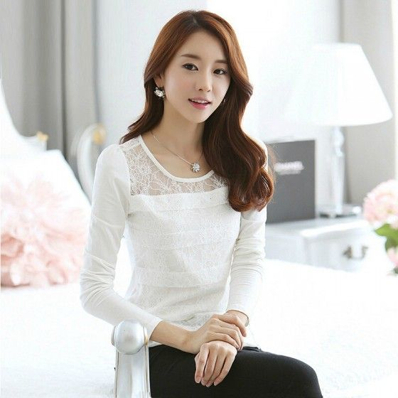 Fashion Women Slim T-shirt Floral Lace Crew Neck Long Sleeve Elegant Tops Blouse White