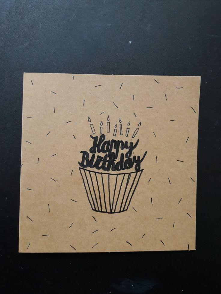 Handlettering birthday card cupcakes