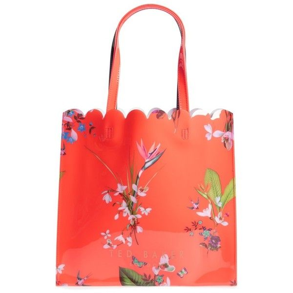 Women's Ted Baker London Large Icon - Tropical Oasis Tote ($59) ❤ liked on Polyvore featuring bags, handbags, tote bags, mid red, ted baker tote bag, red purse, red tote, flower purse and ted baker purse