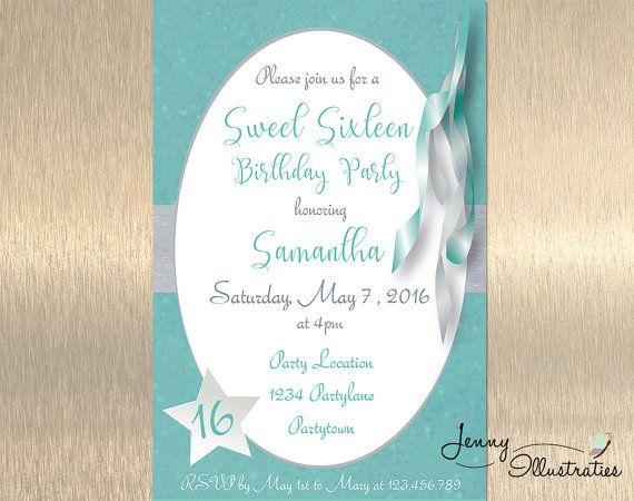 Sweet 16 Invitation Sweet Sixteen Invitation by JennyIllustrations