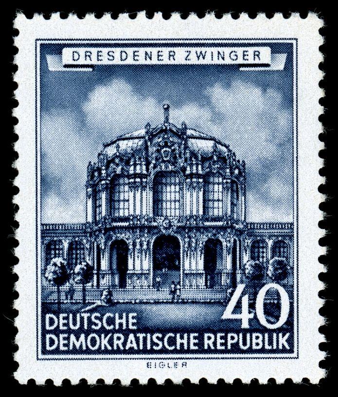 Germany Ddr 1955 Wallpavillon Im Dresdner Zwinger Sachsen Ddr Briefmarken Stempeln
