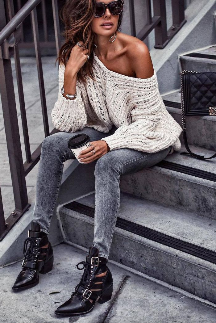 Trendy Outfit One Shoulder Sweater Boots Skinny Jeans Fashion Trendy Outfits Plaid Fashion