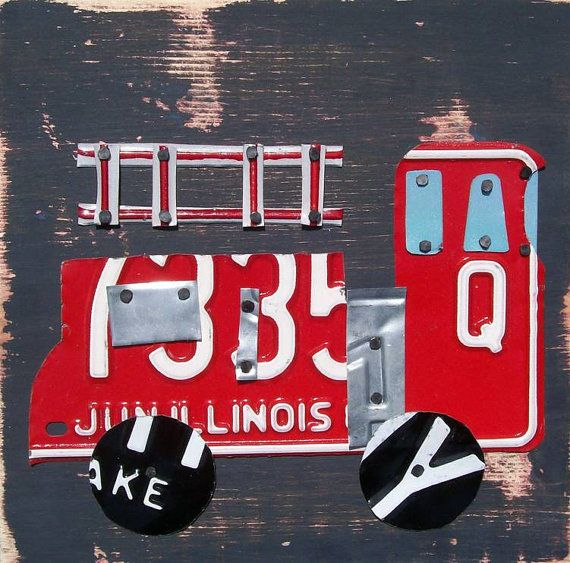 License Plate Art Farm City Fire Truck Firetruck By Recycledartco, $85.00. Firefighter  BedroomFirefighter ...