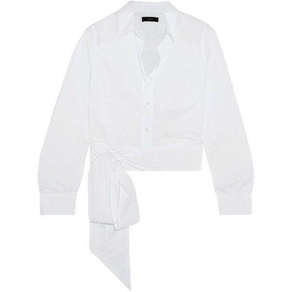 J.Crew Cardamom cotton-poplin shirt (£80) ❤ liked on Polyvore featuring tops, j crew shirts, high waisted shirts, white shirt, wrap shirt and j crew tops