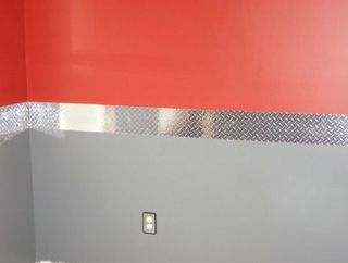 Diamond Plate Wall Border can be purchased on rolls. Doesn't this add the perfect accent for a car themed room?