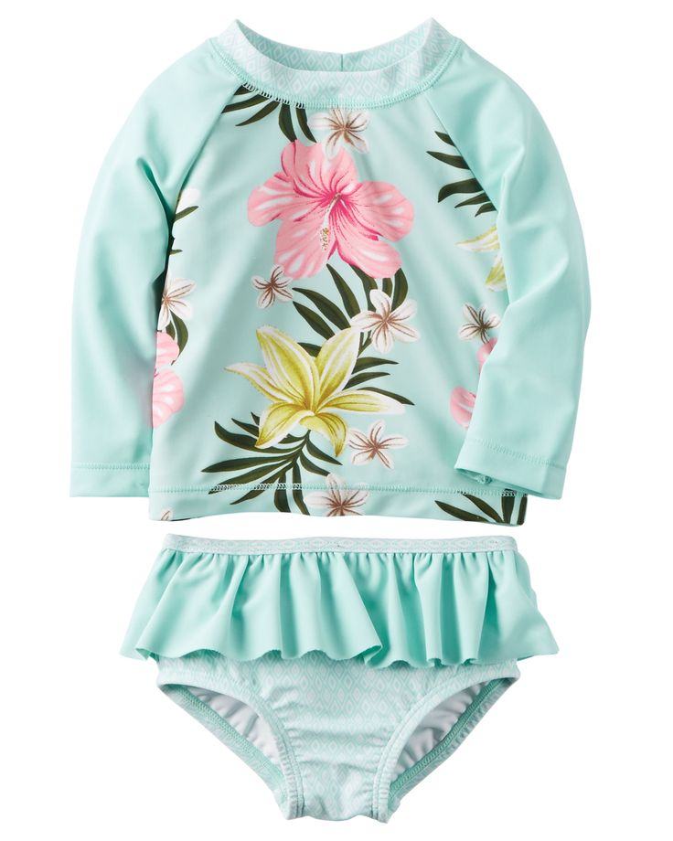 Baby Girl Carter's Floral Rashguard Set   Carters.com