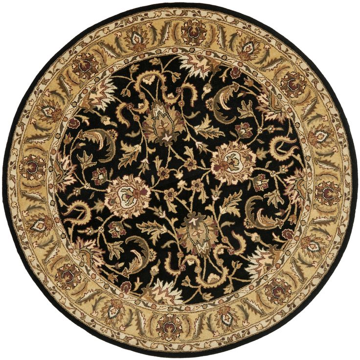 Safavieh Handmade Traditions Black/ Light Brown Wool Rug (5' Round), Size 5' x 5'