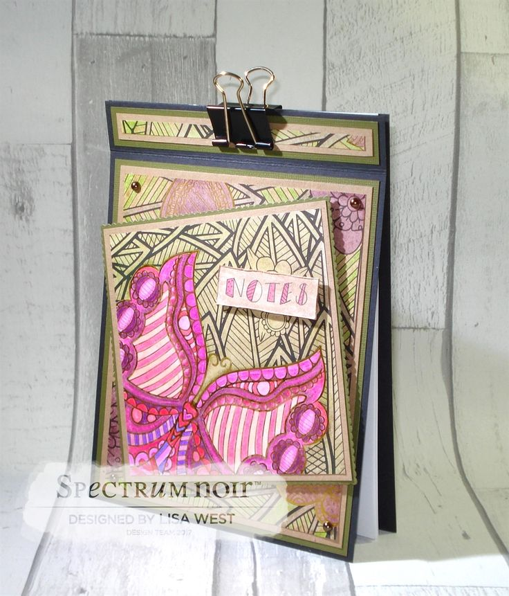 Designed by Lisa West using Spectrum Noir Colorista Butterfly Garden A4 Pad Coloured using Colorista Pencils Sets 1-6  #spectrumnoir #crafterscompanion #coloring #colouring #papercraft #colorista