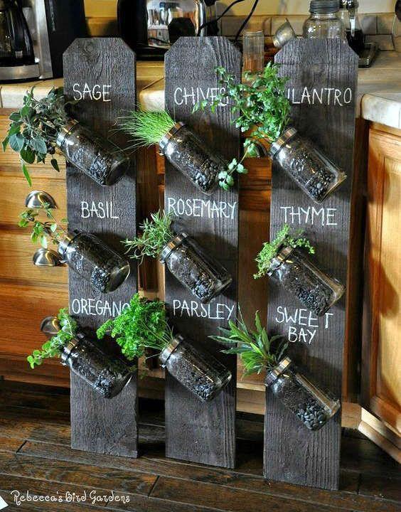 faire pousser des fines herbes dans des pots masson. Black Bedroom Furniture Sets. Home Design Ideas