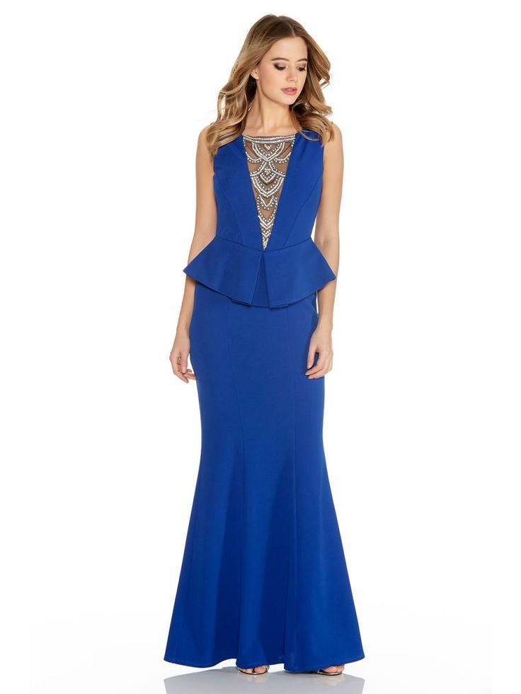 Royal Blue Crepe Diamante Trim Fishtail Maxi Dress - Quiz Clothing