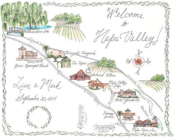 Napa Valley Custom Wedding Map - Illustrated Napa Map Black Swan Lake Napa Wine Trail - Yountville - Willow Tree Made to Order