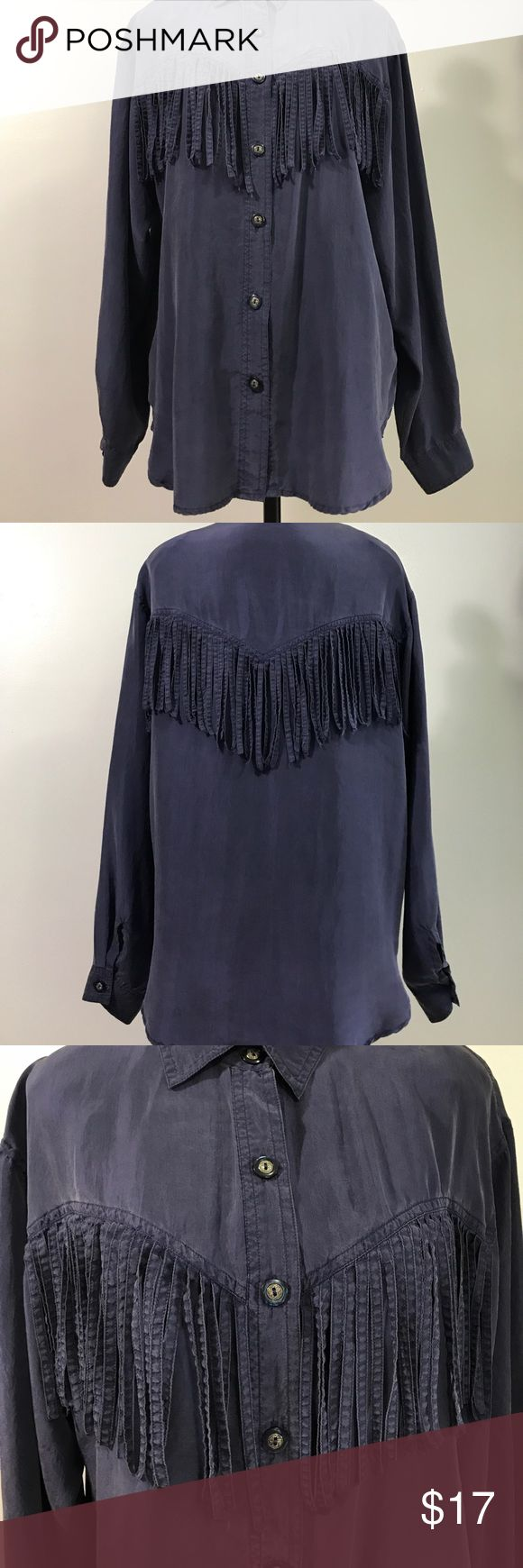 Figi Sport Vintage Silk Fringed Blouse- Med Beautiful silk shirt with truly unique styling! Lovely silver & blue buttons & shoulder pads are easily removable. Perfect condition! Figi Sport Tops Button Down Shirts