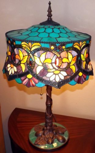 3571 best tiffany images on pinterest tiffany lamps stained glass tiffany style table top stained glass lamp bronze metal base electric 3 lights ebay mozeypictures Image collections