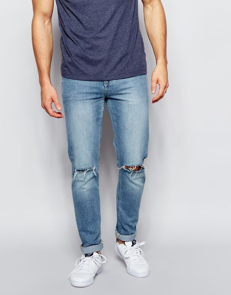 Skinny jeans by ASOS Stretch denim Light wash Zip fly Ripped knees Five  pockets Skinny fit - cut closely to the body Machine wash Cotton, Elastane  Our model ...