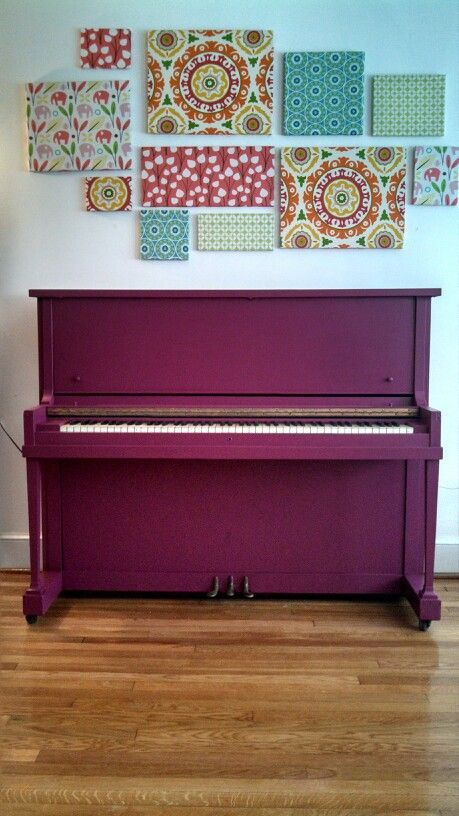 Purple painted piano! Only took about FIVE coats of Valspar signature Allen + Roth va-va voom paint.