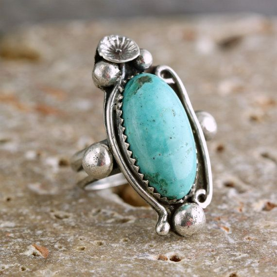 Sterling Silver Ring with Genuine Turquoise by TobesOutpost, 75.00