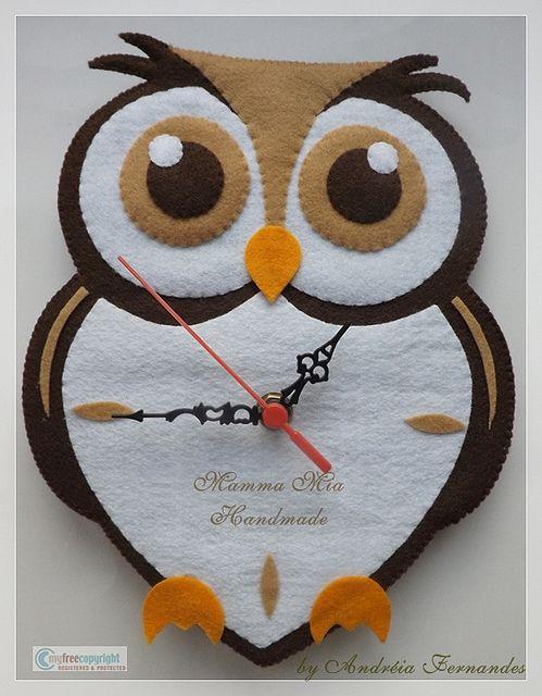 felt owl wall clock by Mamma Mia Handmade