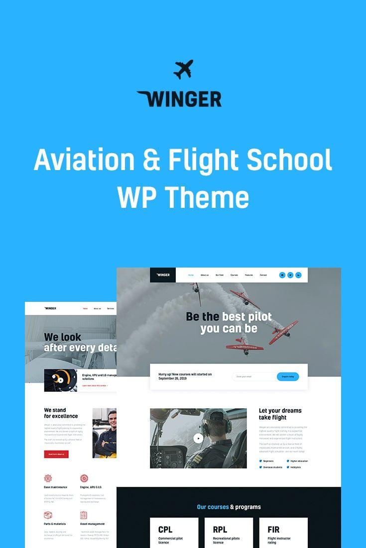Winger Aviation Flight School Wordpress Theme In 2020 Professional Web Design Wordpress Theme Web Design