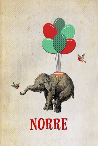 Geboortekaartje Norre - voorkant - Pimpelpluis - https://www.facebook.com/pages/Pimpelpluis/188675421305550?ref=hl (# olifant - ballon - ballonnen - vogel - dieren - lief -  origineel)