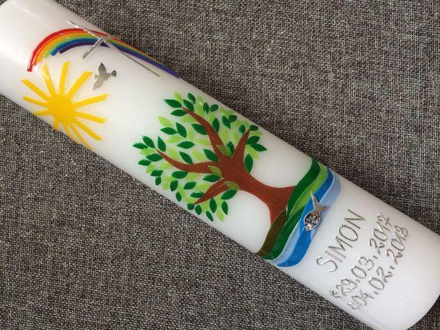 Baum Taufkerze Mit Handgearbeiteten Wachsverzierungen Kerze Zur Taufe Lebensbaum Baum Bitte Geben Sie In Kommunionskerzen Kommunionkerze Erstkommunion Kerze